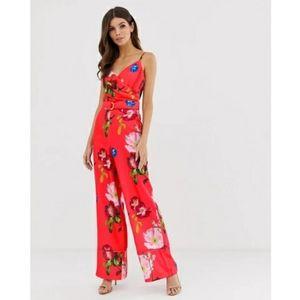 Ted Baker Piiper Wrap Floral Jumpsuit Berry Sundae